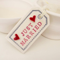 Large ceramic Wedding tag decoration