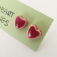 Tiny, red loveheart ceramic stud earrings