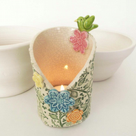 Spring flowers and bird ceramic candle holder