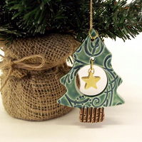 Christmas tree with a little star ceramic Christmas decoration