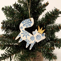 Ceramic Christmas Fox decoration BLUE