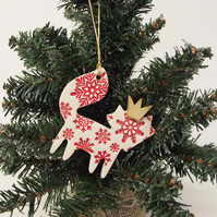 Ceramic Christmas Fox decoration RED