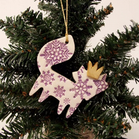 Ceramic Christmas Fox decoration PURPLE