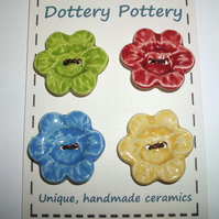 Large ceramic feature flower buttons set of four