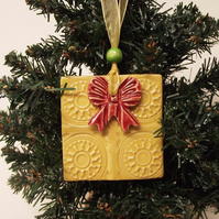Ceramic Christmas Present Decoration. Christmas Pottery