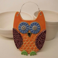 Owl ceramic hanging decoration Pottery