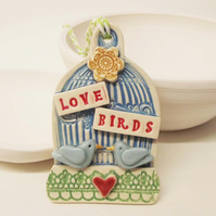 Little ceramic lovebirds hanging decoration Wedding Bride Groom