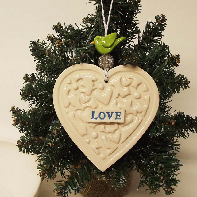ceramic heart decoration with bird Love heart Wedding