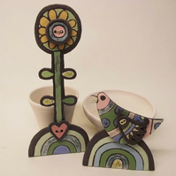 Ceramic Bird and Flower pottery decorations Handmade Ceramics