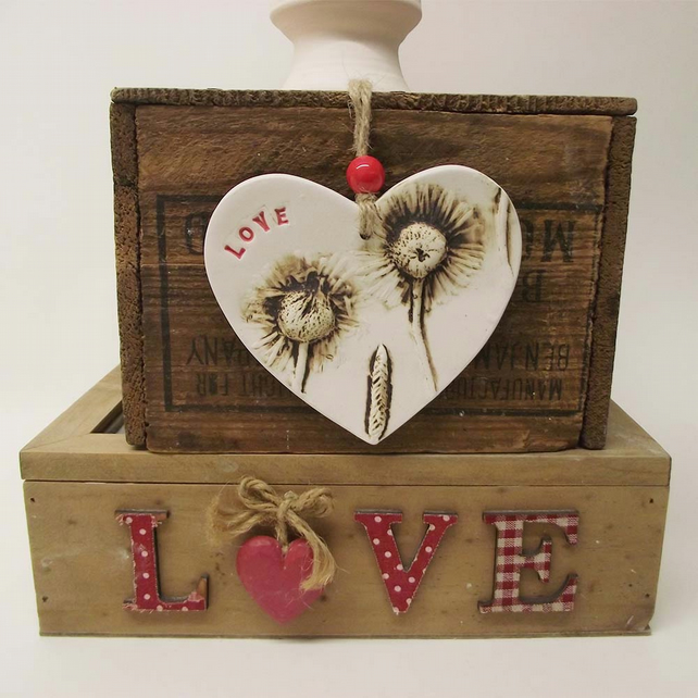 Ceramic LOVE heart decoration Pottery Valentines