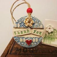 Pottery decoration Thank You Ceramic gift