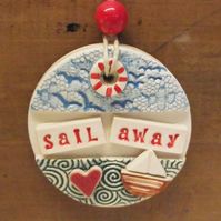 Pottery decoration Sail Away Boat ceramic gift