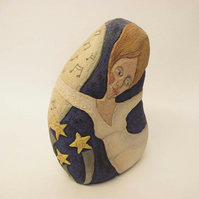 Ceramic Sculpture lady with flowing hair Pottery