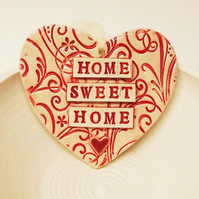 Red ceramic heart decoration Home Sweet Home Pottery