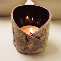 Ceramic natural flower tealight holder Pottery