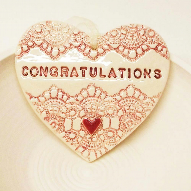 Sale Pink ceramic heart decoration Congratulations Pottery