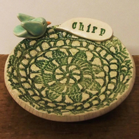 Little Green ceramic bird dish Pottery plate