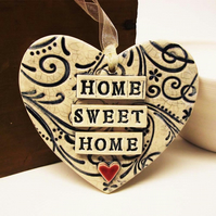 Blue ceramic heart decoration Home Sweet Home Pottery