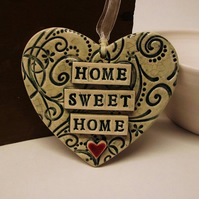 Teal Green ceramic heart decoration Home Sweet Home Pottery