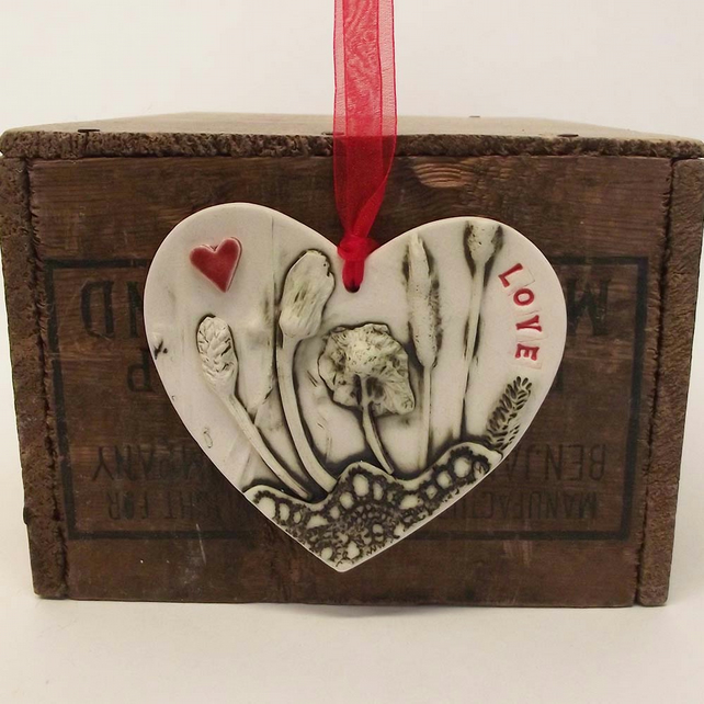 Ceramic LOVE heart decoration Pottery