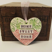 Ceramic heart decoration Pottery Home Sweet Home