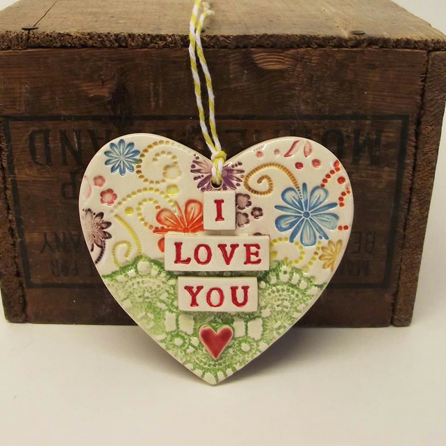 Ceramic heart decoration Pottery Lace I Love You