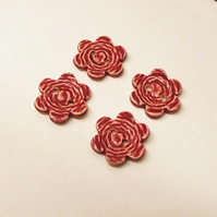 Set of four large RED flower ceramic buttons pottery