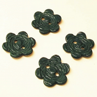 Set of four large dark TEAL flower ceramic buttons pottery