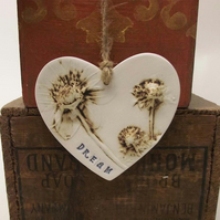 Ceramic DREAM heart decoration Pottery Valentines
