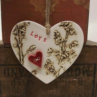 Ceramic loveheart flower decoration Pottery red heart button