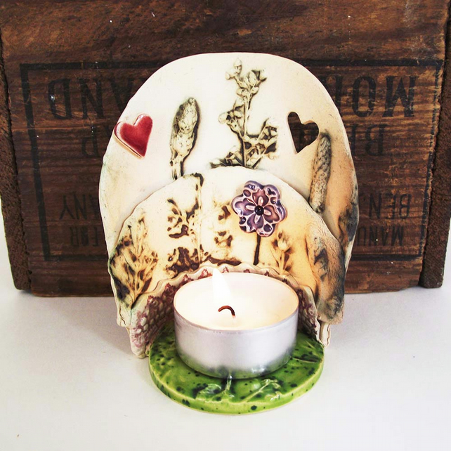 Special offer Ceramic natural flower tealight holder Pottery