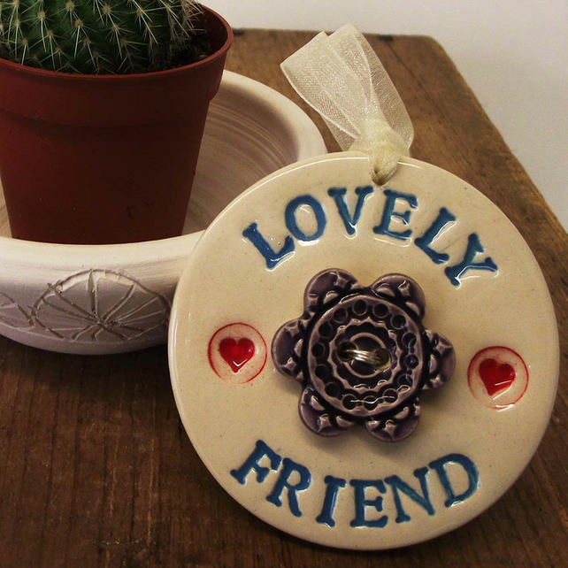 Pottery Decoration with flower button Lovely Friend