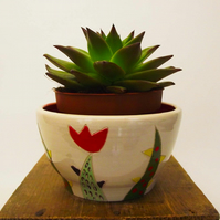 Ceramic hand thrown cactus decorated pot Pottery