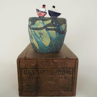 Ceramic boat sea glazed pot with wave pattern Pottery