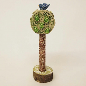 Pottery bird in a pear tree Ceramic sculpture