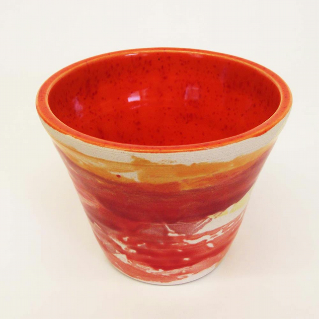 Sale Bright and Bold orange and red ceramic pot. Retro 1970's inspired