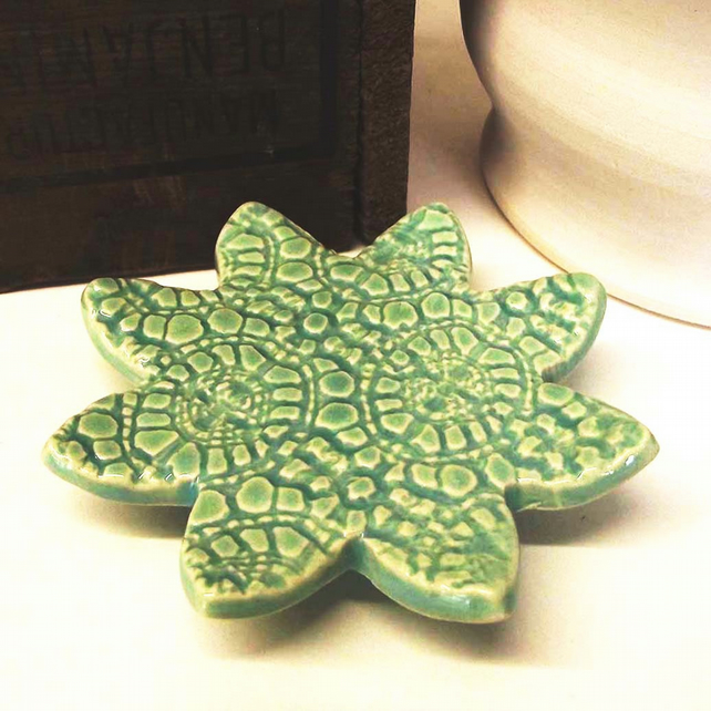 Sale Useful little Star Shaped pottery dish, votive holder, trinkets Ceramic