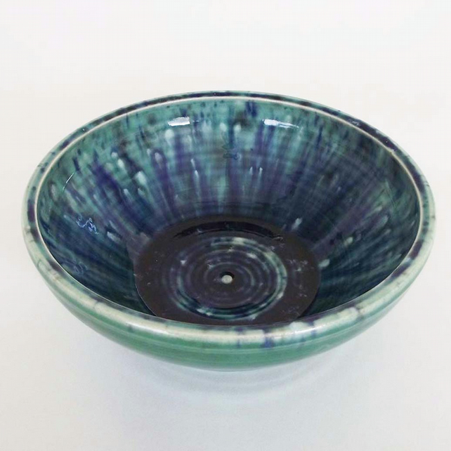 Ceramic sea glazed bowl Pottery bowl blue and green water pattern