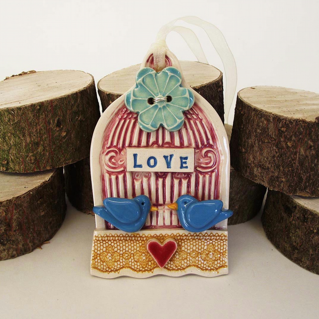 Pottery wedding decoration Love Birds  Wedding gift Bride and Groom Birdcage