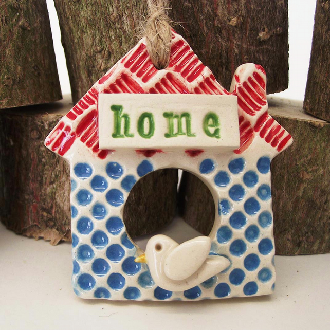 Tiny Ceramic house decoration Pottery Home with little bird