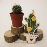 Pottery Cactus Ceramic hanging decoration. Illustrated Cactus pottery decoration