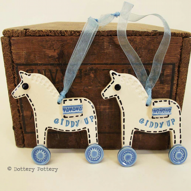Pottery Horse Ceramic hanging decoration. Illustrated Horse pottery decoration