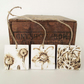 Set of three natural flower ceramic tile hanging decorations