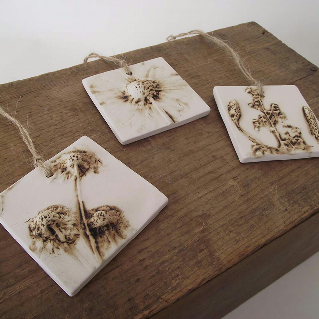 SALE natural flower ceramic tile hanging decorations