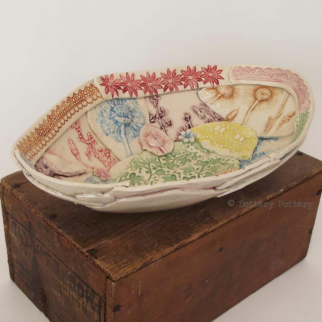 Ceramic bowl patchwork design bright flowers crackle glaze shabby chic handbuilt