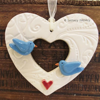 Ceramic heart decoration Wedding Heart Love Birds Bride and Groom