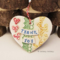 Ceramic heart floral decoration patchwork design, pottery heart