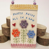 Ceramic wall plaque Pretty Maids pottery flowers wall tile ceramic decoration