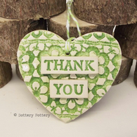 Ceramic heart floral decoration Thank You Teacher Gift Pottery heart