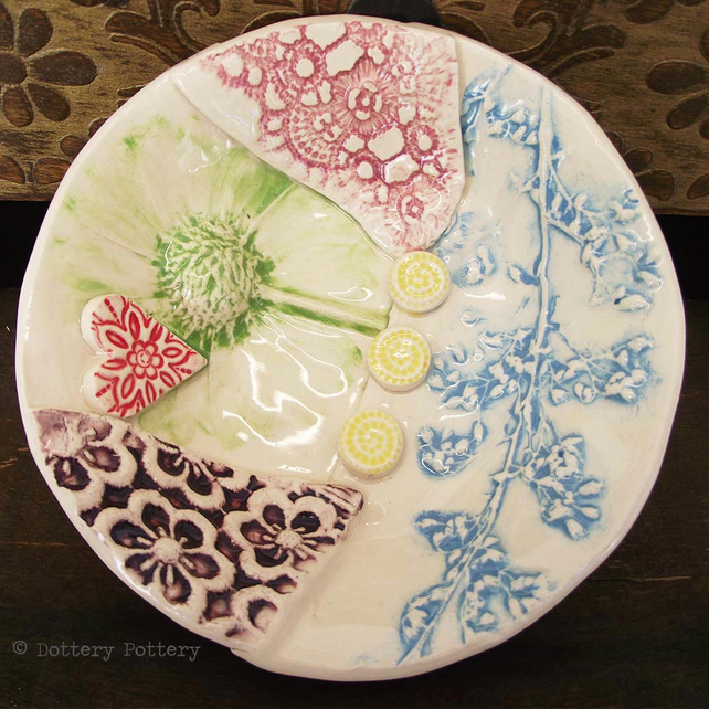 30% discount Ceramic bowl patchwork design bright flowers pottery bowl